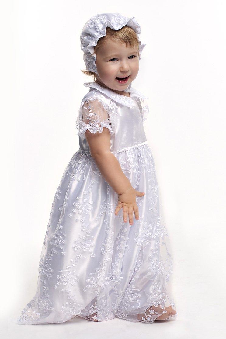 5d84be1b6ac08ff Комплект крестильное платье для девочки с гипюром белый с крыжмой фото ...
